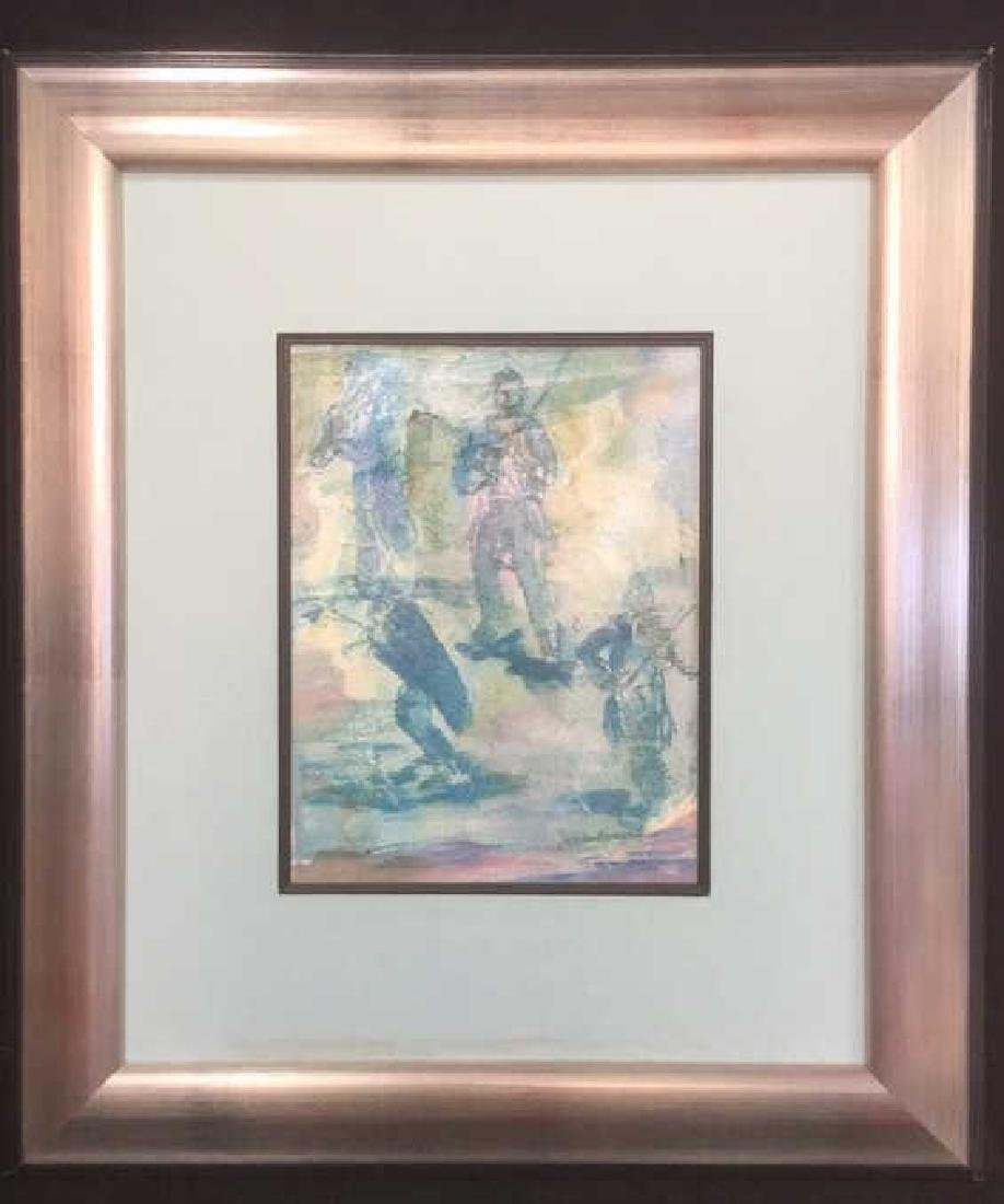 Framed Matted Abstract Artwork On Paper Signed - 2
