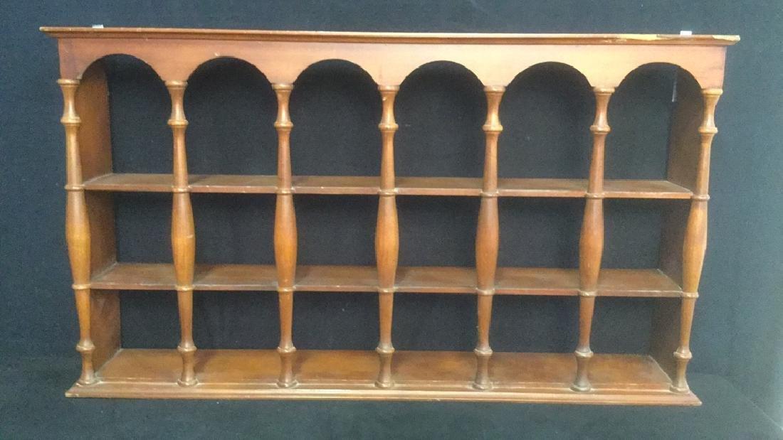 Three Tiered Wooden Display Shelf WSpindle Columns