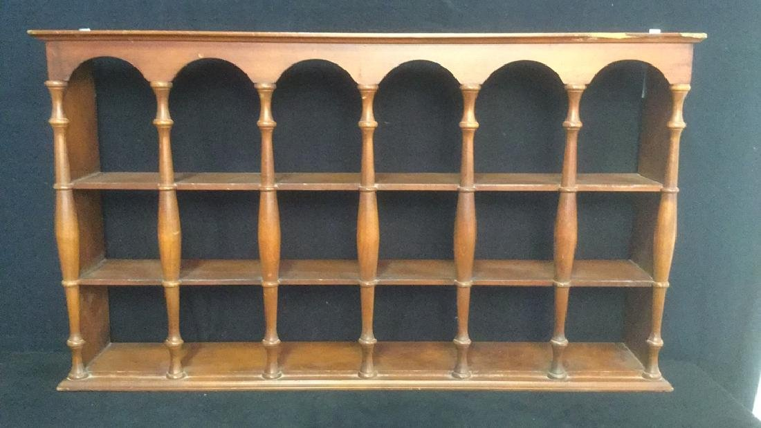 Three Tiered Wooden Display Shelf WSpindle Columns - 2