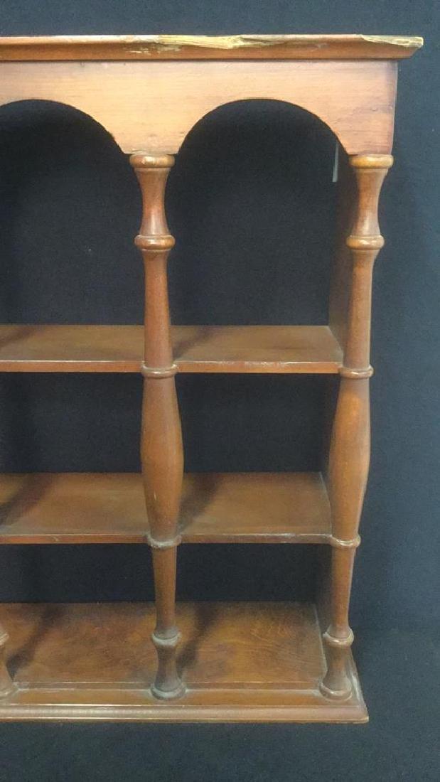 Three Tiered Wooden Display Shelf WSpindle Columns - 3
