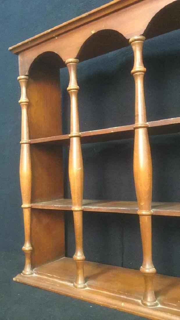Three Tiered Wooden Display Shelf WSpindle Columns - 4