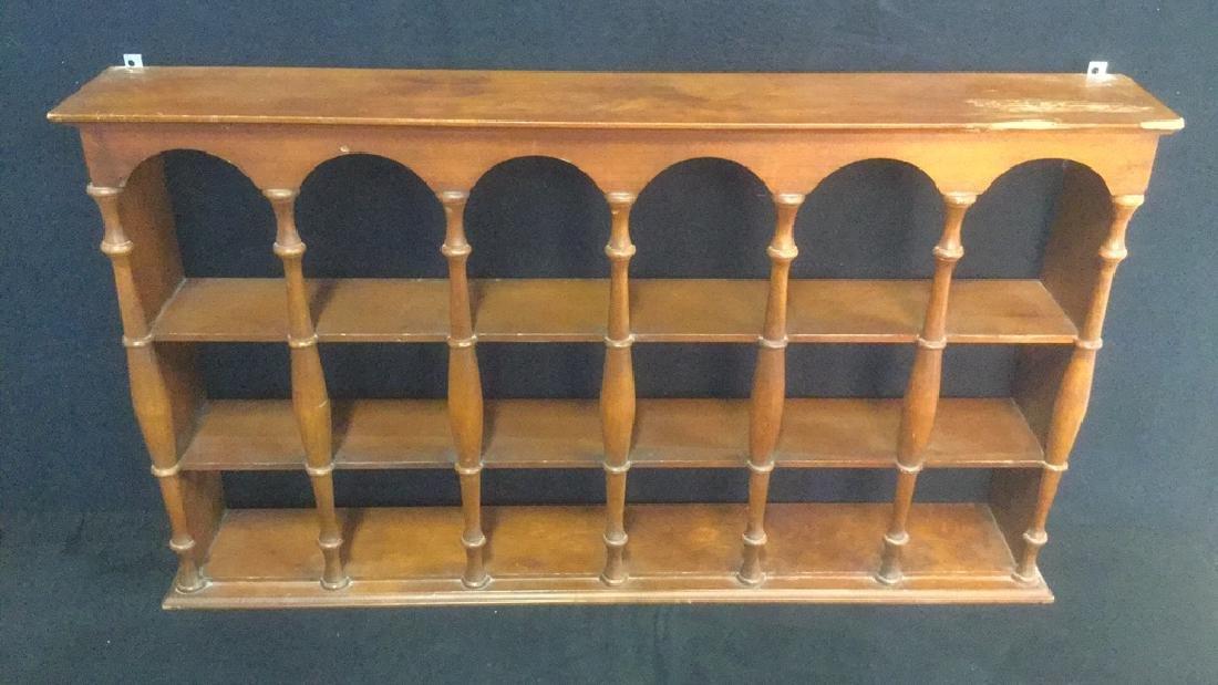 Three Tiered Wooden Display Shelf WSpindle Columns - 5