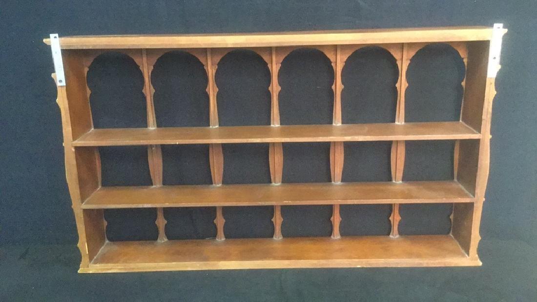 Three Tiered Wooden Display Shelf WSpindle Columns - 6