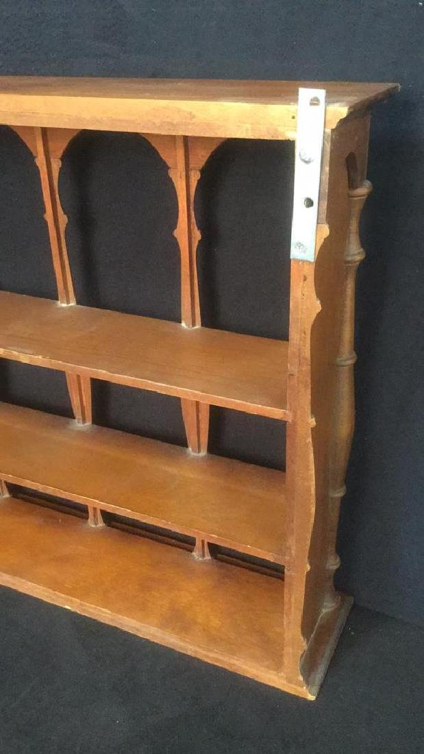Three Tiered Wooden Display Shelf WSpindle Columns - 7