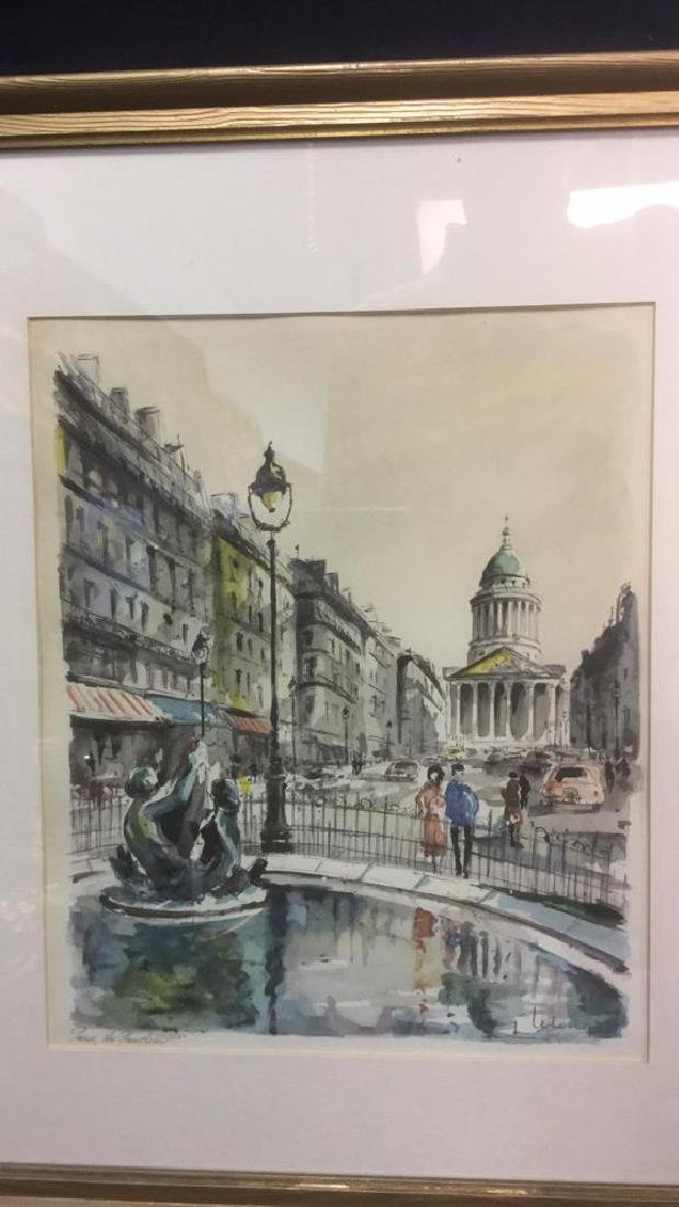 Ink And Watercolor Artwork Of Paris By G. Lelong - 2