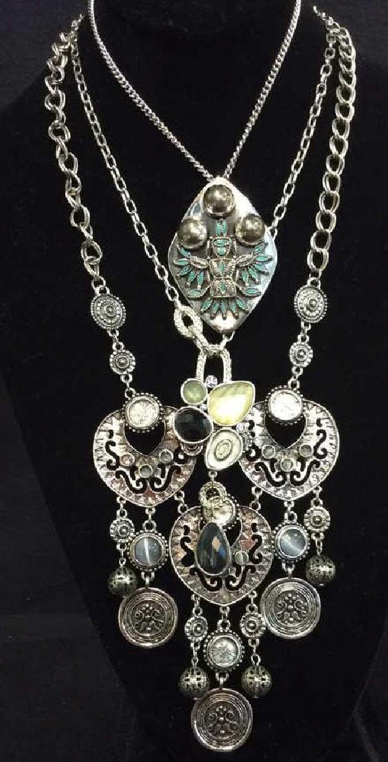Lot 3 Silver Toned Metal Jewelry necklaces