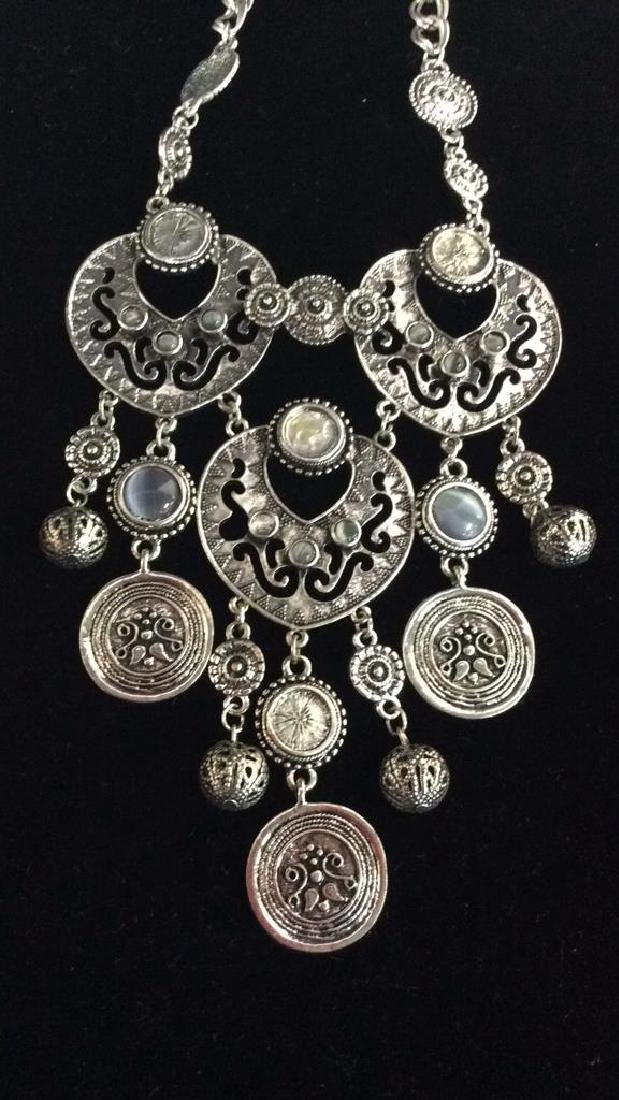 Lot 3 Silver Toned Metal Jewelry necklaces - 2