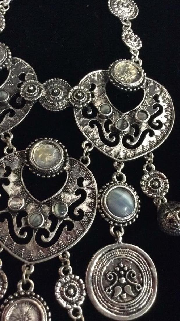 Lot 3 Silver Toned Metal Jewelry necklaces - 3