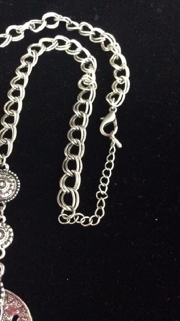 Lot 3 Silver Toned Metal Jewelry necklaces - 4