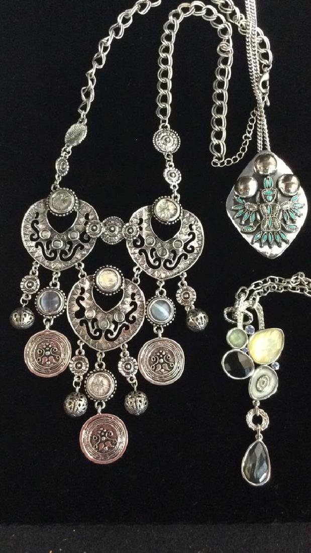 Lot 3 Silver Toned Metal Jewelry necklaces - 5
