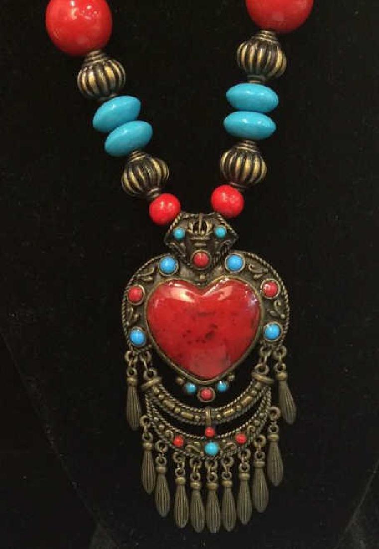 Women's Beaded Heart Pendant Necklace - 2