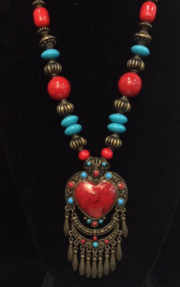 Women's Beaded Heart Pendant Necklace - 3