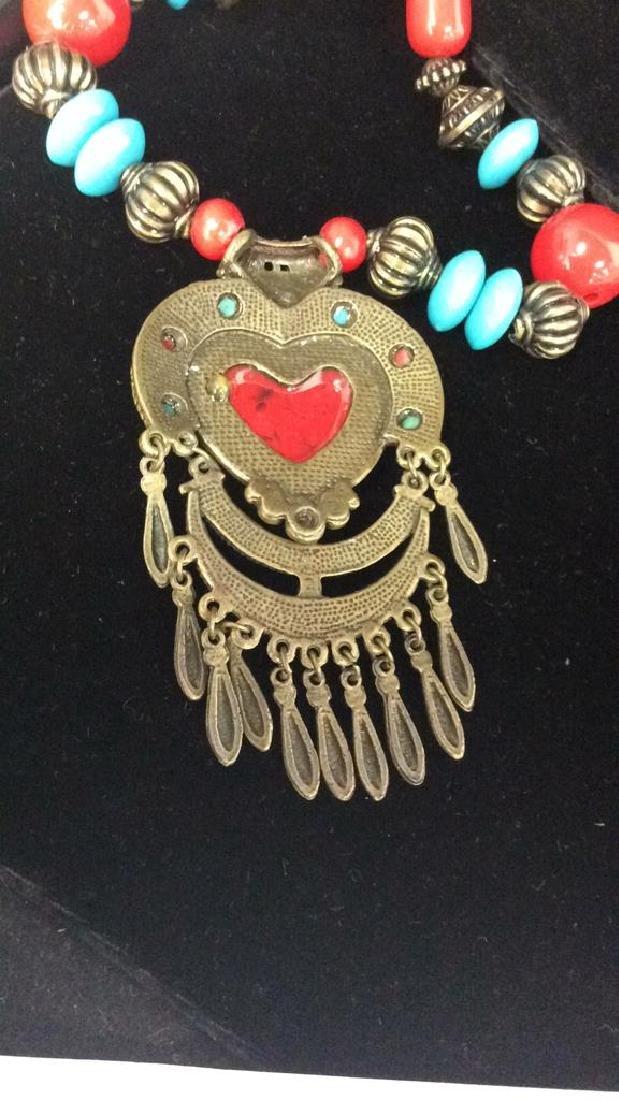 Women's Beaded Heart Pendant Necklace - 5