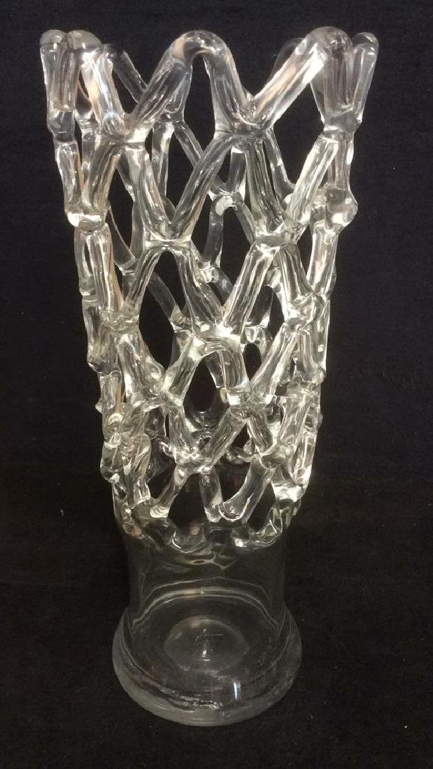 Vintage Glass Vase With Open Net Detail
