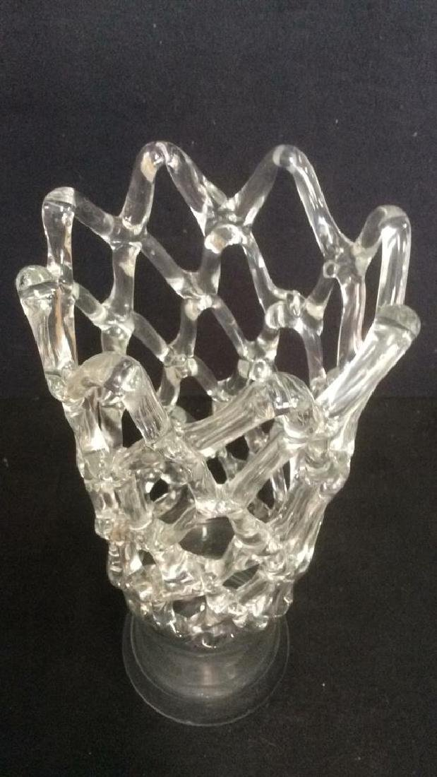 Vintage Glass Vase With Open Net Detail - 4