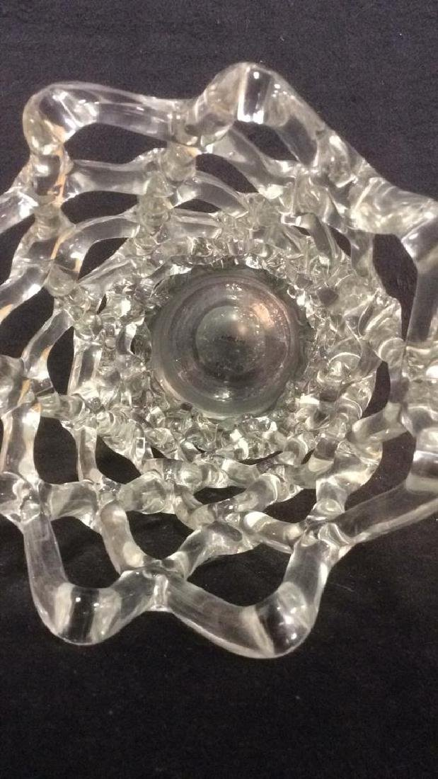 Vintage Glass Vase With Open Net Detail - 5