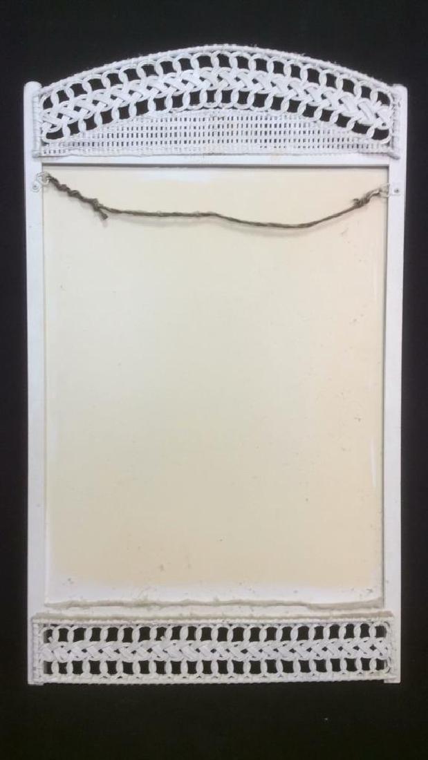 White Toned Wooden Mirror W Wicker Detail - 5