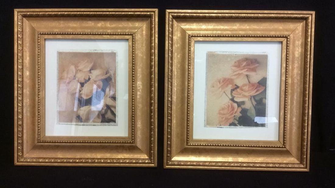 Lot 2 Gilded Wood Framed Rose Prints