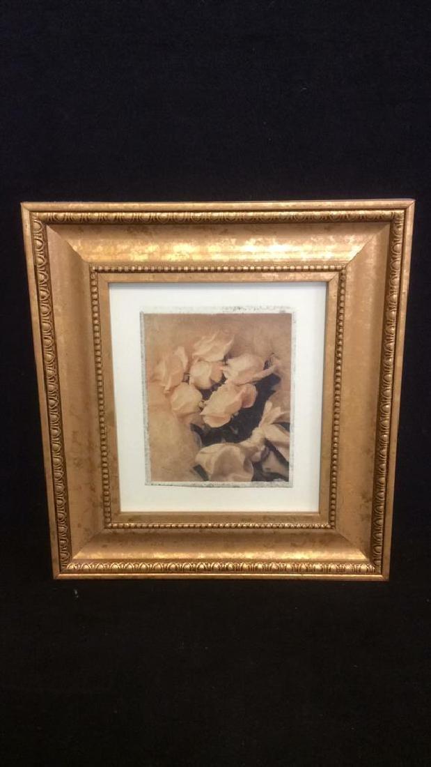 Lot 2 Gilded Wood Framed Rose Prints - 3
