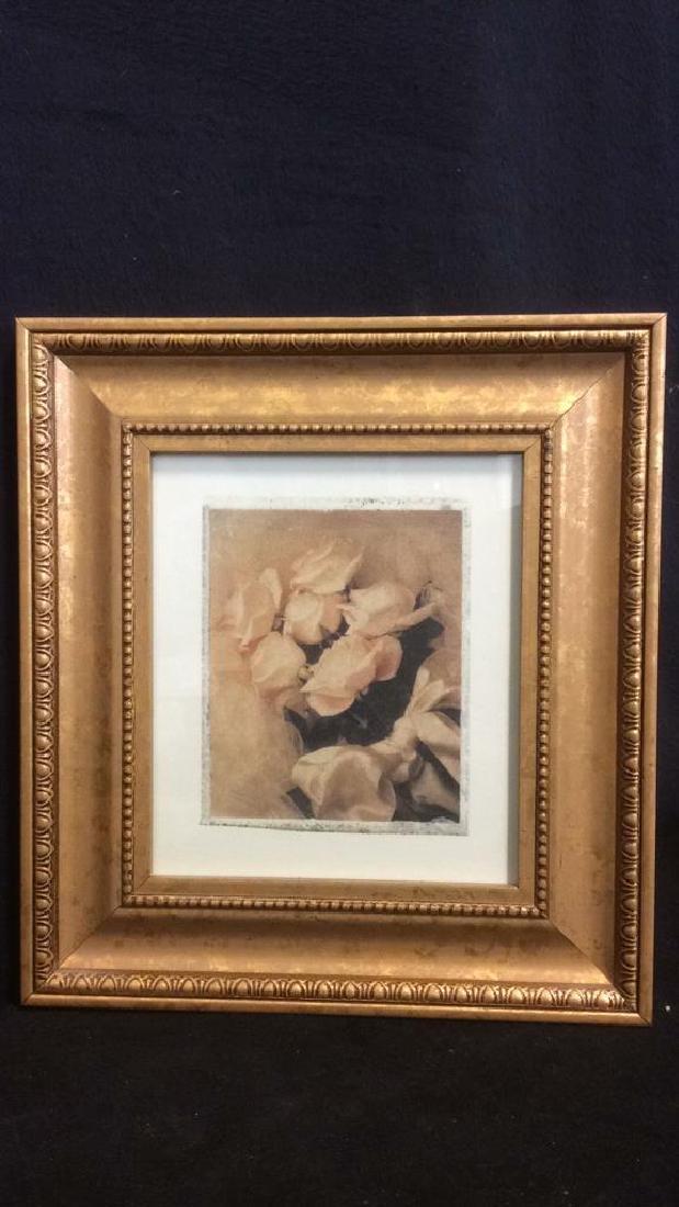Lot 2 Gilded Wood Framed Rose Prints - 4
