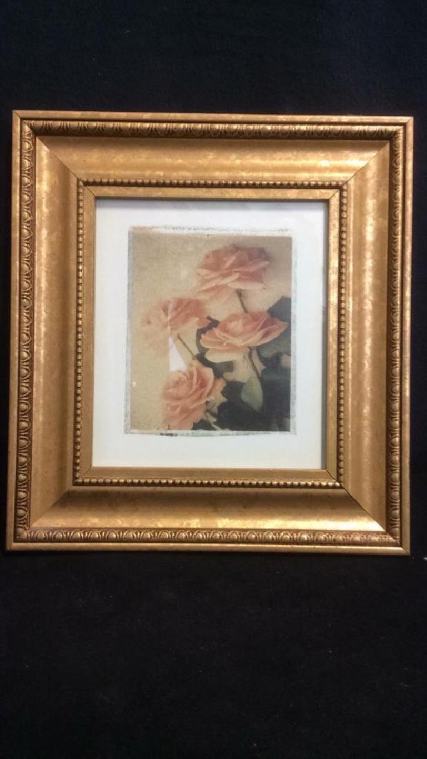 Lot 2 Gilded Wood Framed Rose Prints - 7
