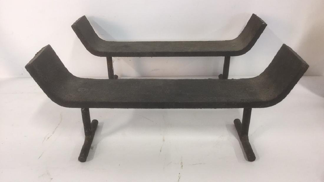 Lot 2 Two Piece Iron Fireplace Grate - 6