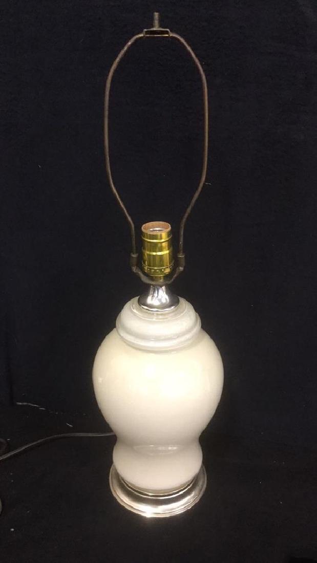 Cream Colored Glass Table Lamp - 2