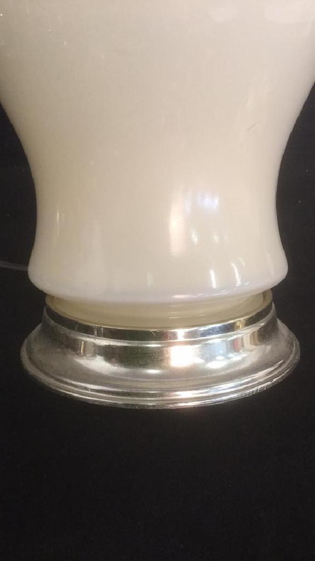 Cream Colored Glass Table Lamp - 4