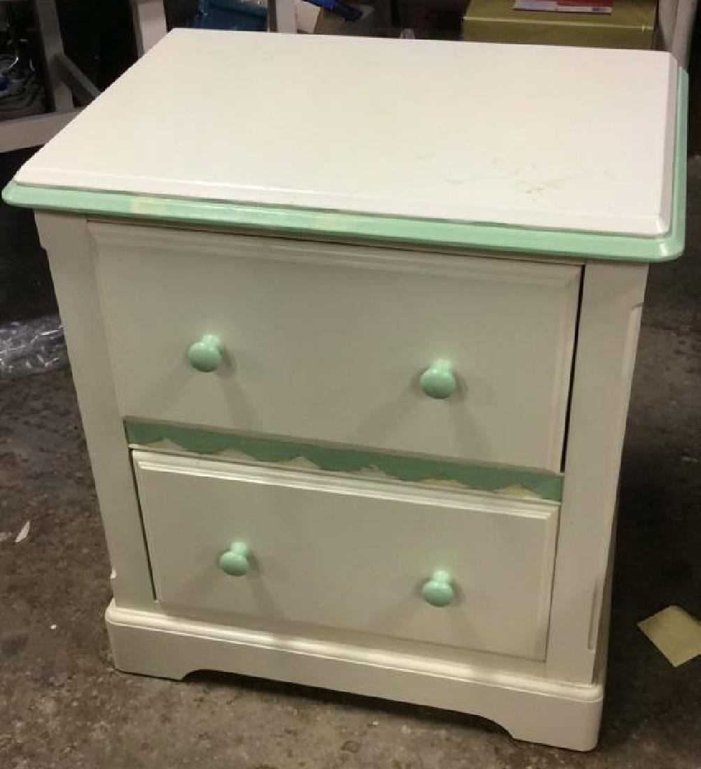 White and Green Wooden End Table W Drawers