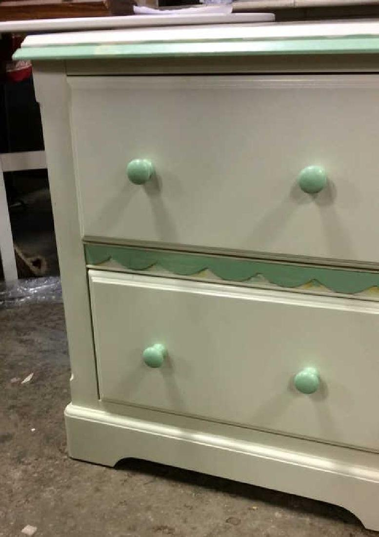 White and Green Wooden End Table W Drawers - 2