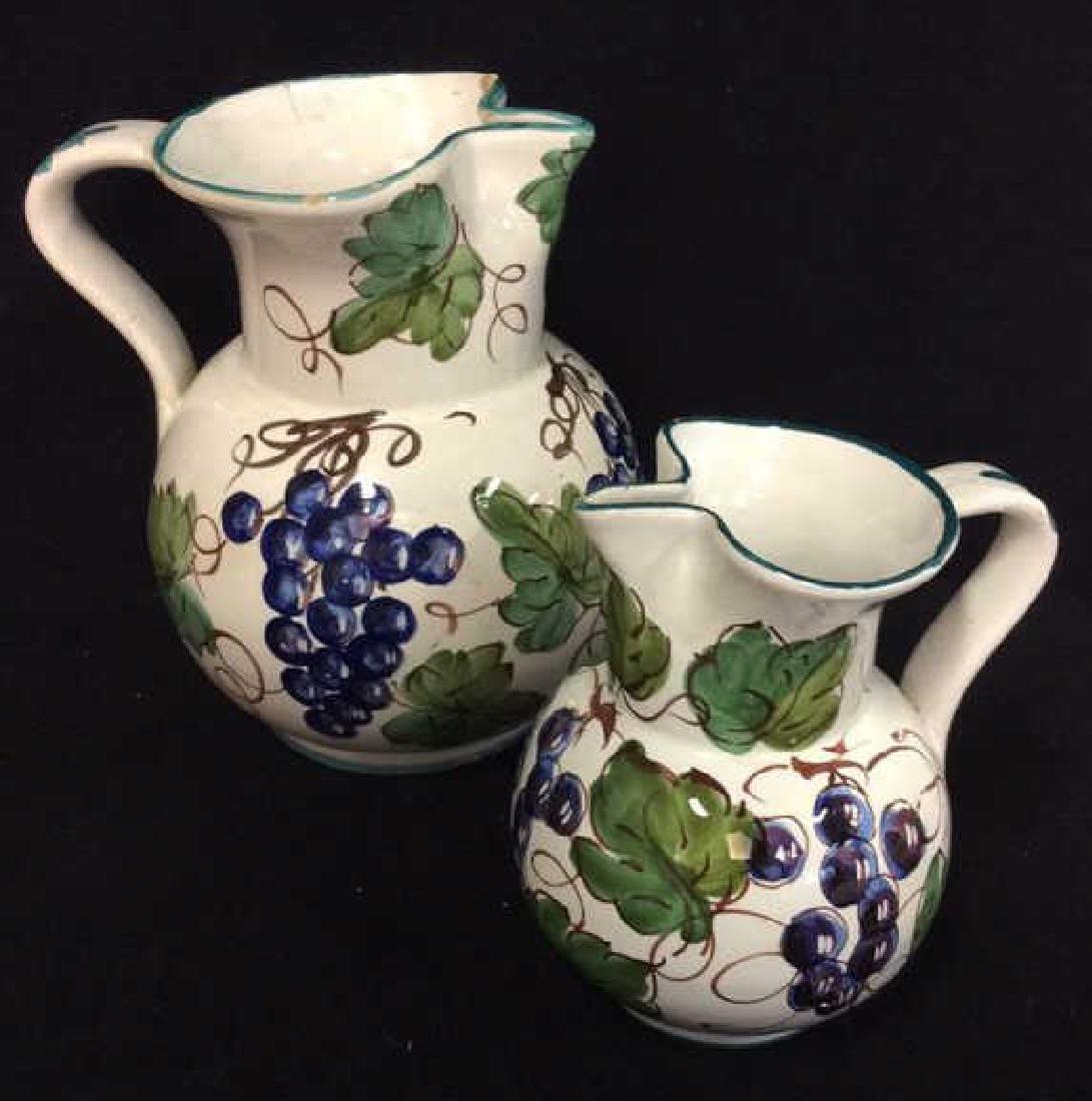 Pair Italian Ceramic Painted Pitchers