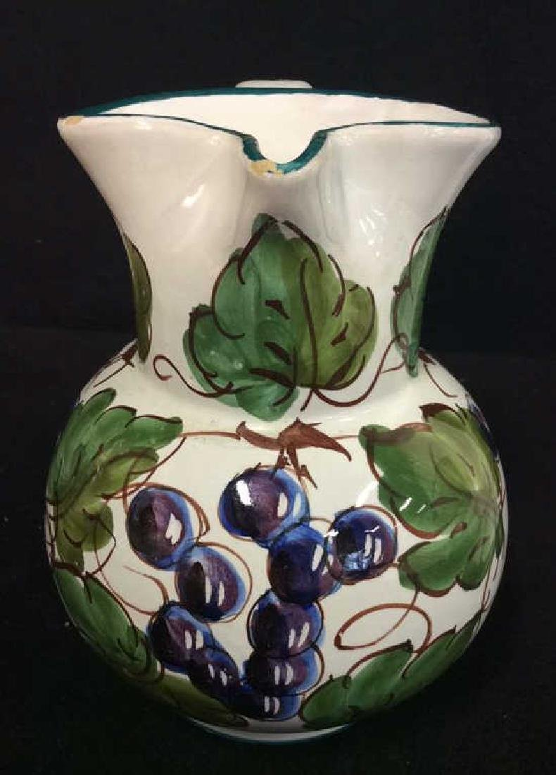 Pair Italian Ceramic Painted Pitchers - 2