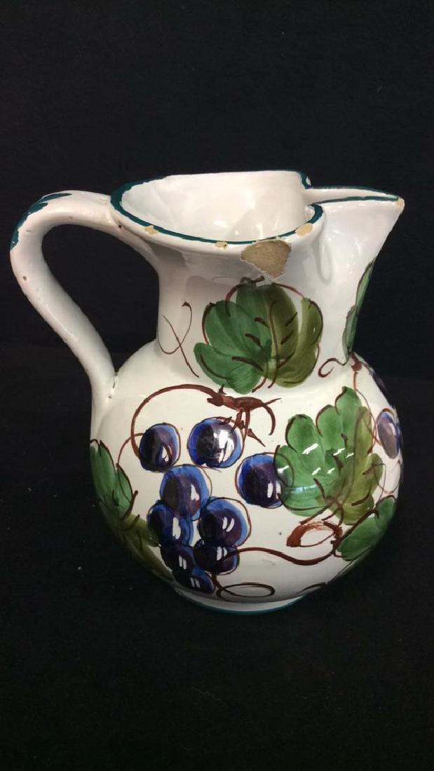 Pair Italian Ceramic Painted Pitchers - 3