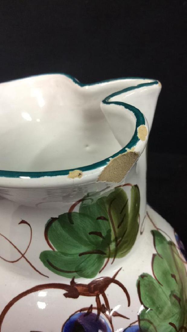 Pair Italian Ceramic Painted Pitchers - 4
