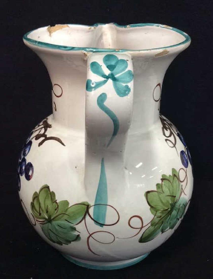 Pair Italian Ceramic Painted Pitchers - 8