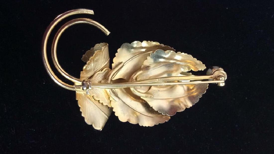 Lot 3 Gold Toned Floral Figural Pins - 6