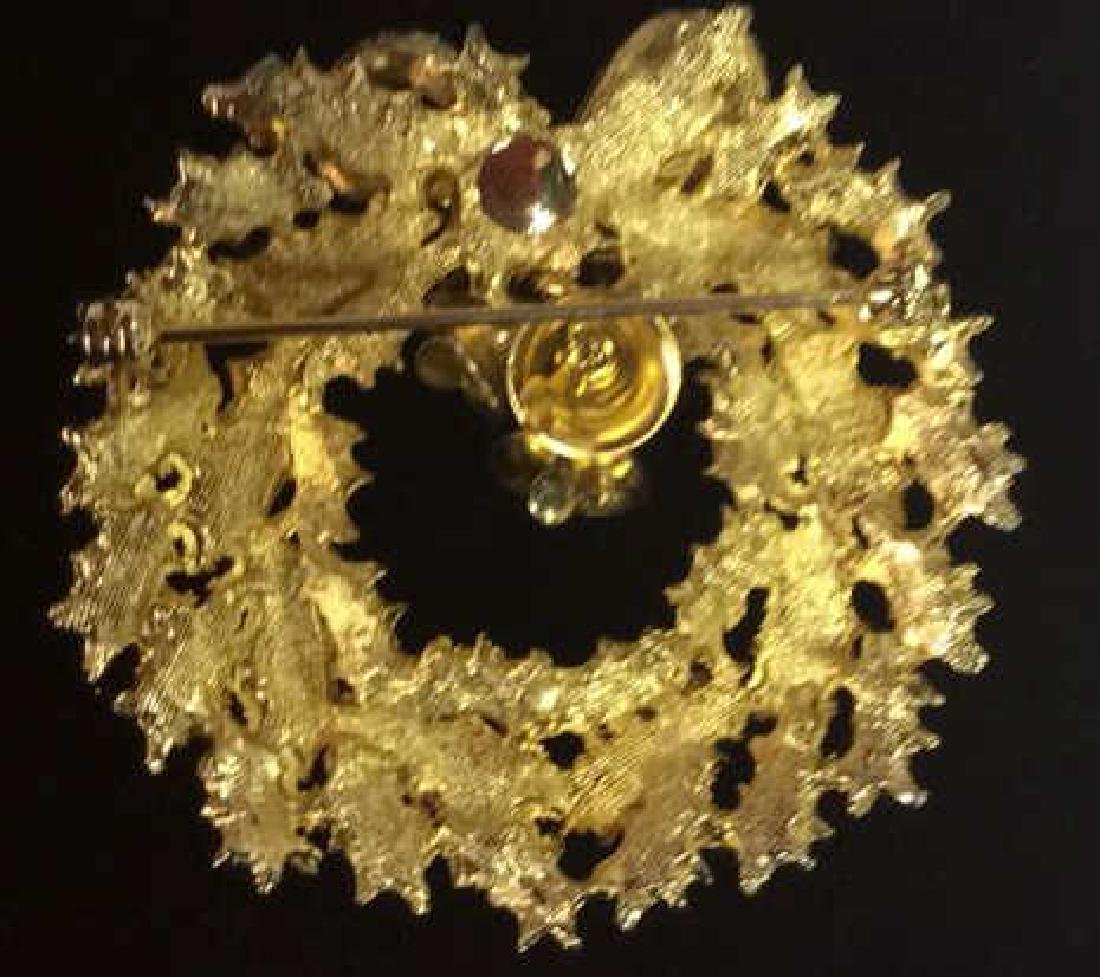 Lot 5 Assorted Gold Toned Women's Brooch Pins - 3