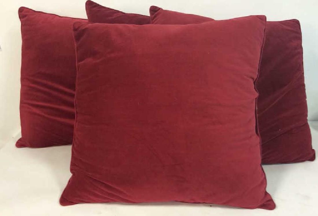 Lot 4 Cranberry Toned Fabric Pillows