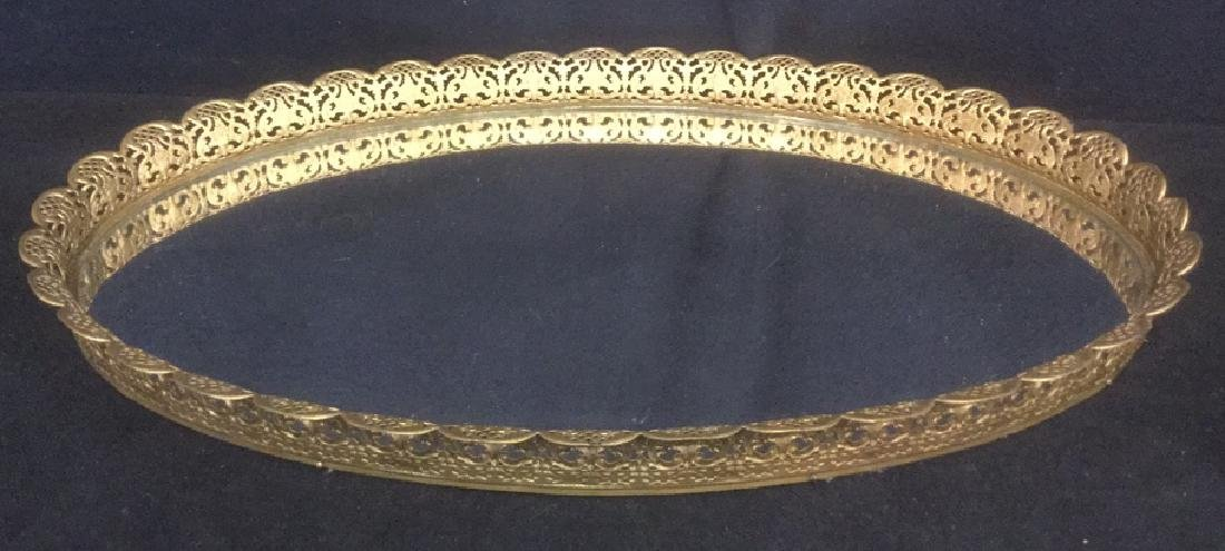 Oval Mirrored Vanity Tray With Gold Filigree Frame