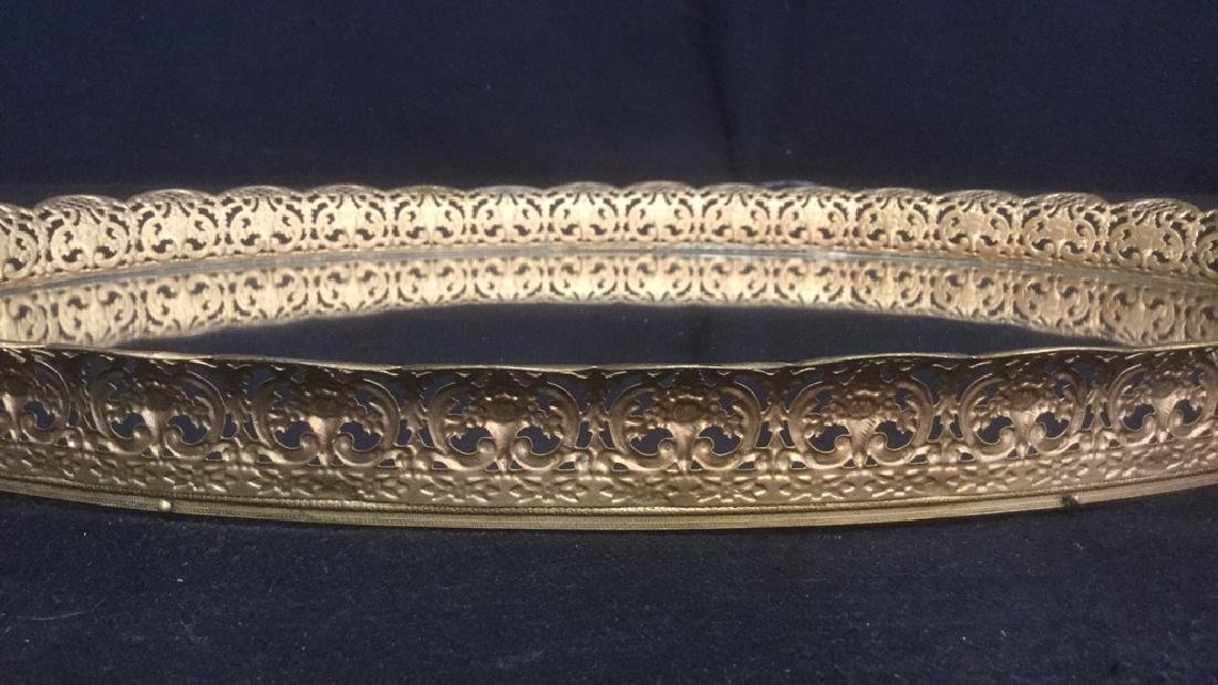 Oval Mirrored Vanity Tray With Gold Filigree Frame - 3