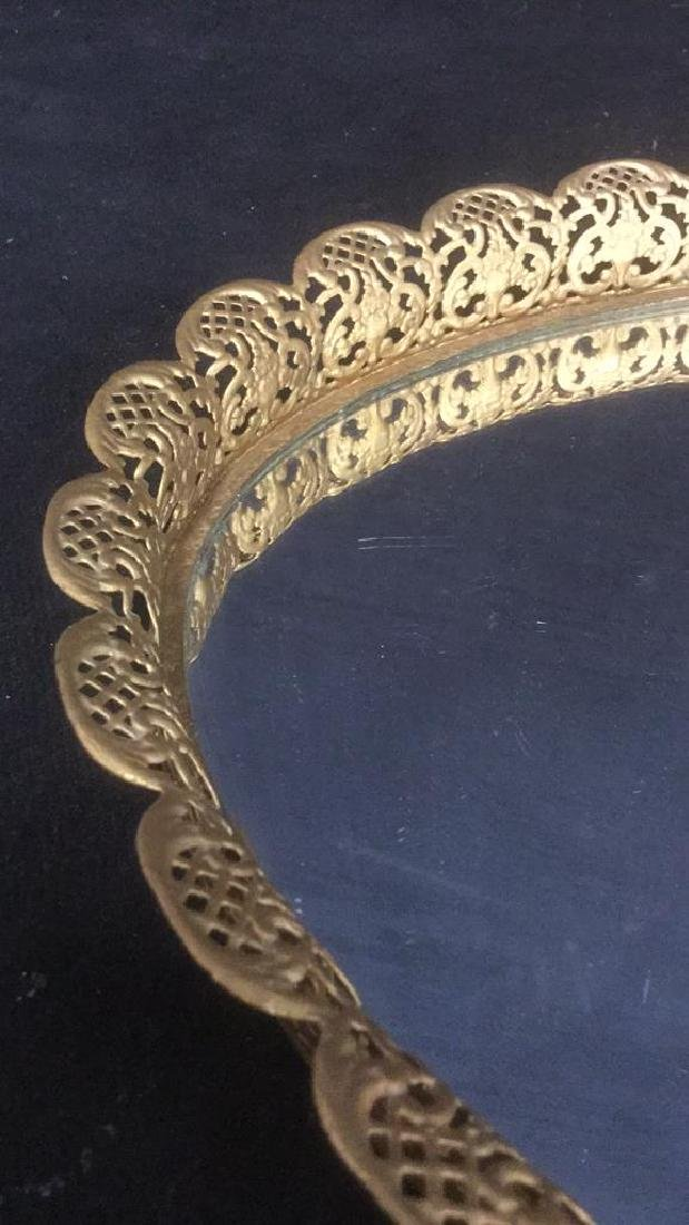 Oval Mirrored Vanity Tray With Gold Filigree Frame - 4