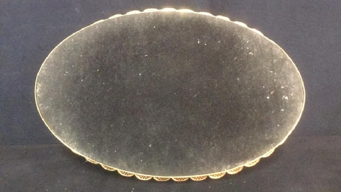 Oval Mirrored Vanity Tray With Gold Filigree Frame - 5
