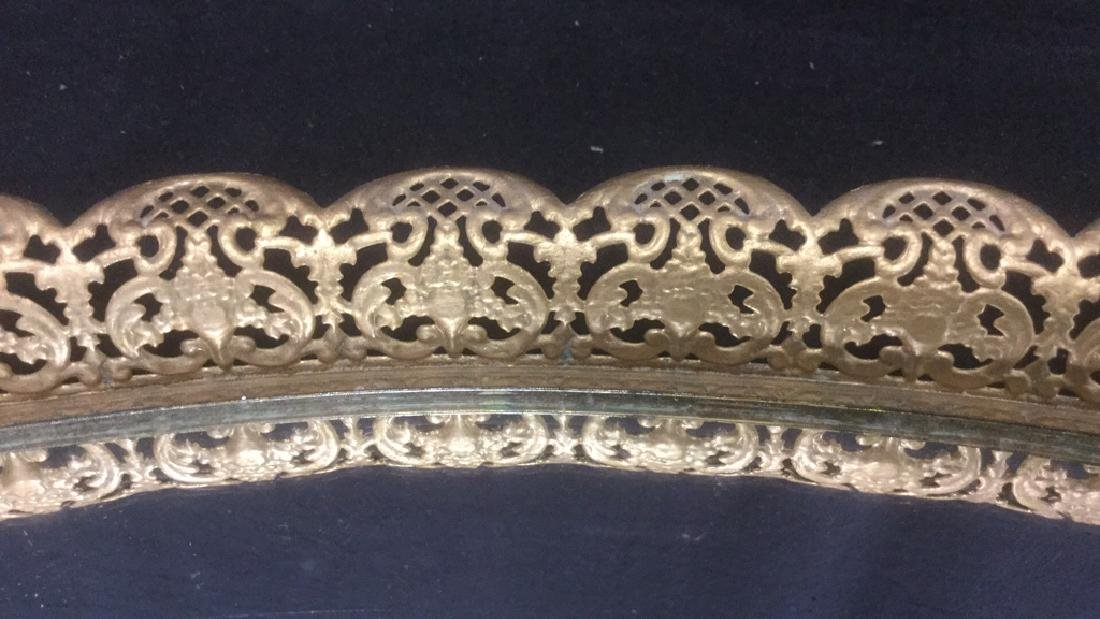 Oval Mirrored Vanity Tray With Gold Filigree Frame - 7