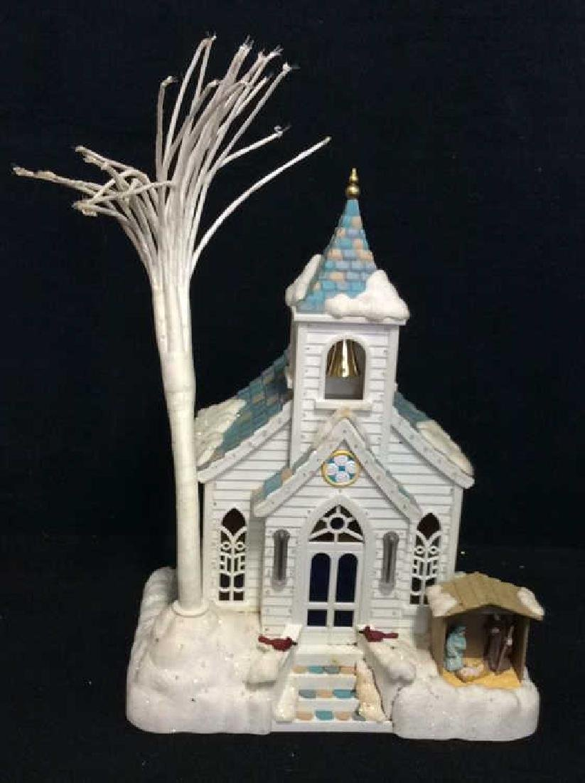 Plastic Light Up Church Decorative Collectible
