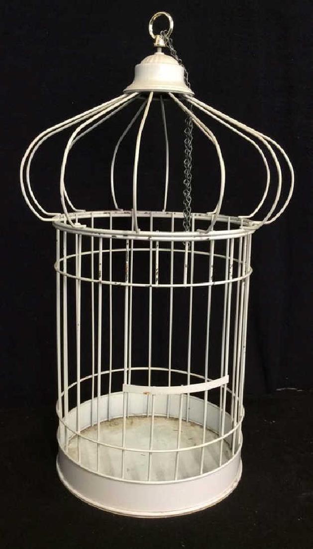 Vintage White Toned Metal Decorative Bird Cage