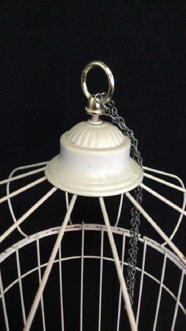Vintage White Toned Metal Decorative Bird Cage - 3