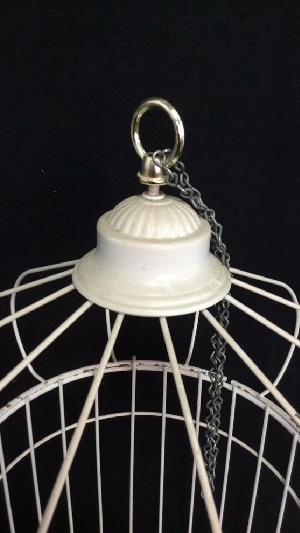 Vintage White Toned Metal Decorative Bird Cage - 3