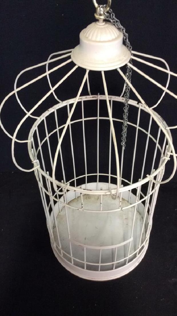 Vintage White Toned Metal Decorative Bird Cage - 4