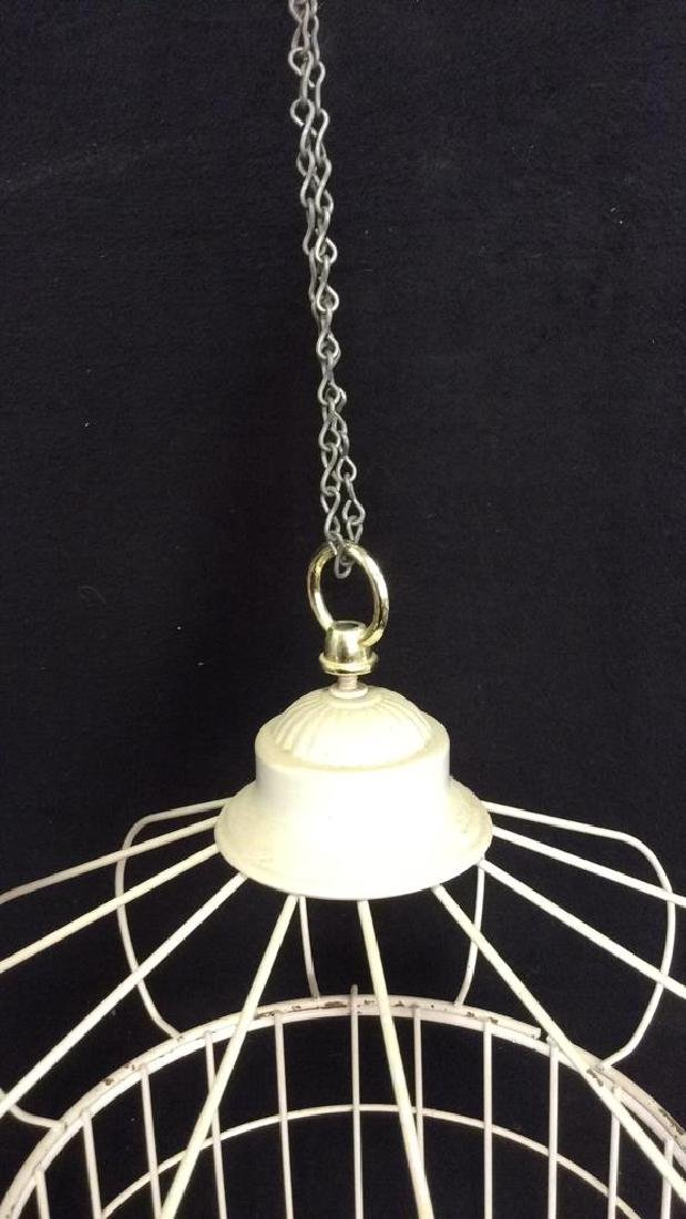 Vintage White Toned Metal Decorative Bird Cage - 5