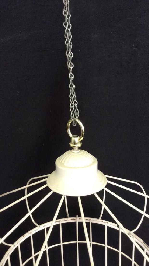 Vintage White Toned Metal Decorative Bird Cage - 5